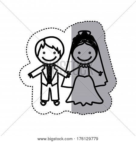 sticker sketch silhouette caricature married couple icon vector illustration