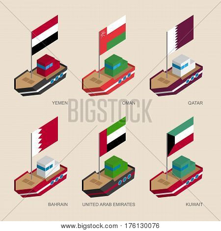 Set Of Isometric Ships With Flags Of Gulf Countries