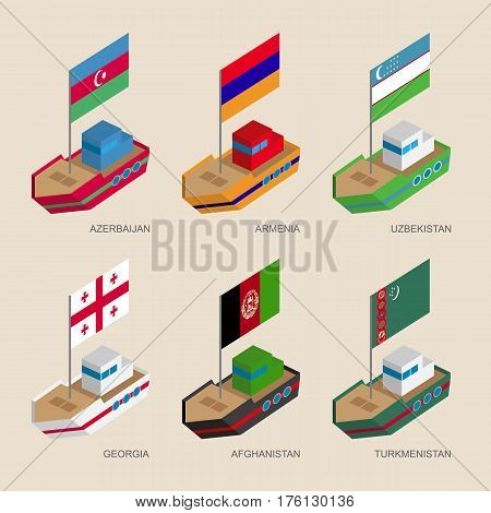 Set Of Isometric Ships With Flags Of Asian Countries