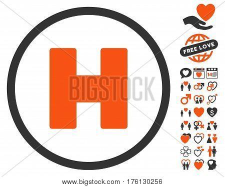 Helicopter Landing pictograph with bonus lovely symbols. Vector illustration style is flat iconic orange and gray symbols on white background.