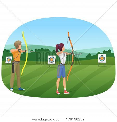 Man and woman standing with bows and aiming to the target vector illustration
