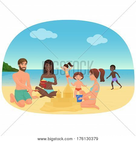 Adults and children making sandcastles and having fun on the beach vector illustration
