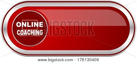 Online coaching red long glossy silver metallic banner. Modern design web icon for smartphone applications
