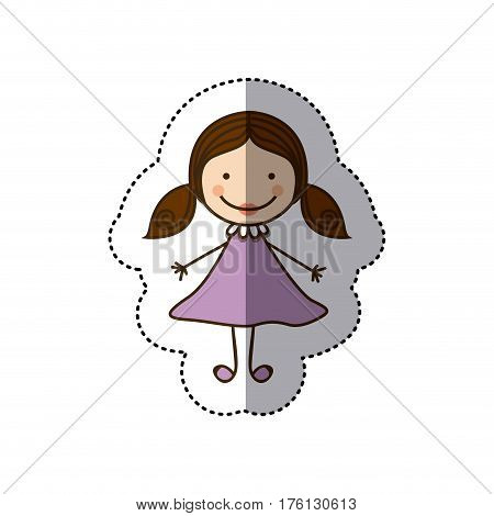 sticker colorful caricature girl with hair pigtails vector illustration