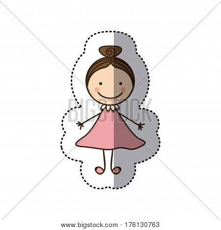 sticker colorful caricature girl with collected hair vector illustration