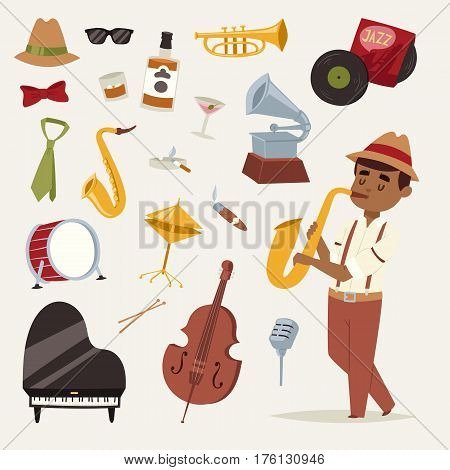 Fashion jazz band music party symbols art performance and musical instrument man character sound concert acoustic blues bass design vector illustration. Classical entertainment sax melody.