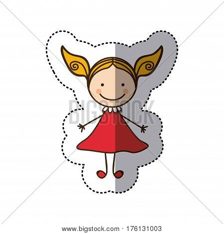 sticker colorful caricature girl with dress vector illustration
