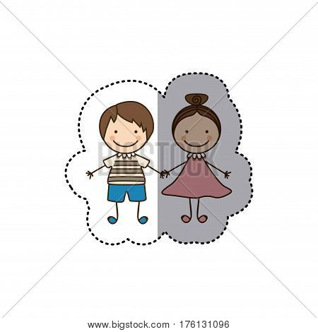 sticker colorful caricature couple boy with straigth hair and girl with collected hair vector illustration