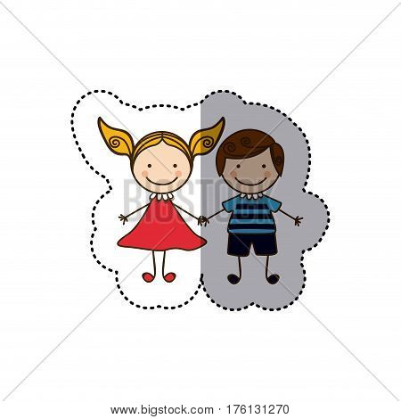 sticker colorful caricature couple boy with curly hair and girl with dress vector illustration