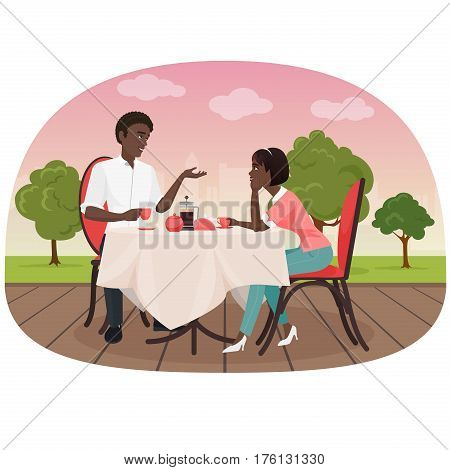 An African couple sitting in the cafe outside and drinking coffee vector illustration. Black people appointment date