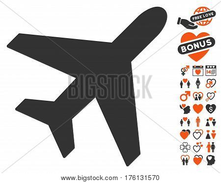 Plane pictograph with bonus love pictograph collection. Vector illustration style is flat iconic orange and gray symbols on white background.