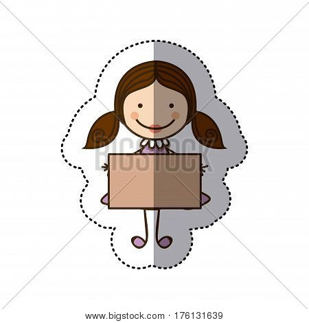 sticker colorful caricature girl with hair pigtails and banner vector illustration