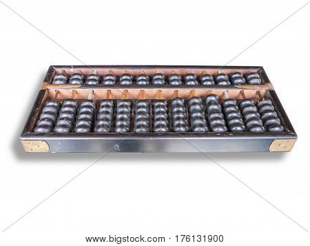 Old abacus isolated on white background with clipping path.