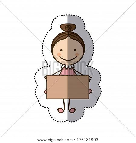 sticker colorful caricature girl with collected hair and banner vector illustration