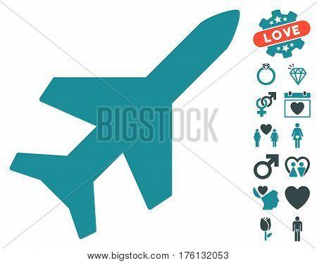 Aeroplane pictograph with bonus dating symbols. Vector illustration style is flat iconic soft blue symbols on white background.