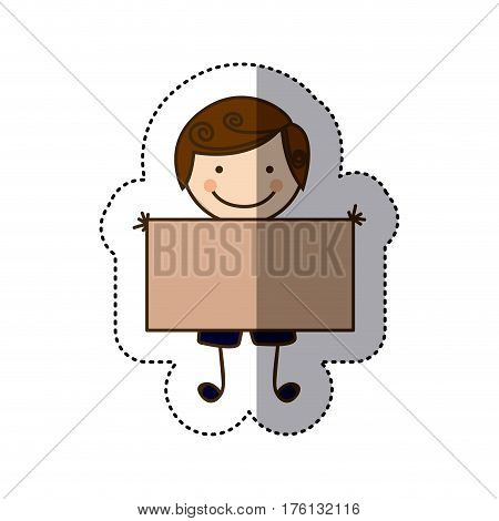 sticker colorful caricature boy with curly hair and banner vector illustration