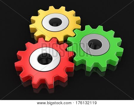 3D Illustration. Cogwheels. Image with clipping path