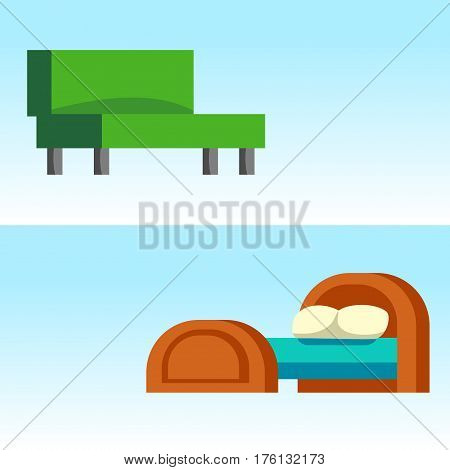 Green couch sofa isolated home seat. Style interior comfortable sofa isolated fashion texture decor. Bed vector sleep furniture icon. Bed vector house information bedtime modern