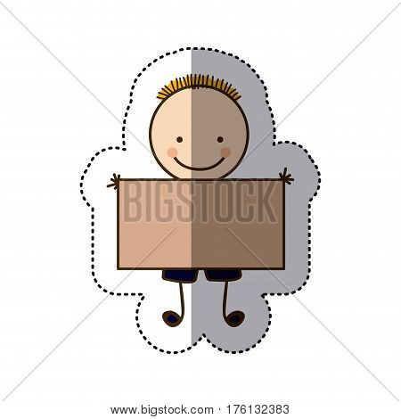 sticker colorful caricature boy with hairstyle and banner vector illustration