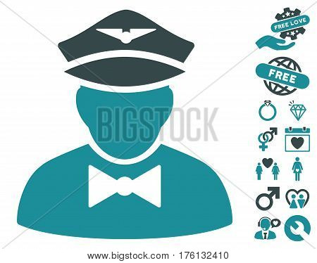 Airline Steward icon with bonus lovely symbols. Vector illustration style is flat iconic soft blue symbols on white background.