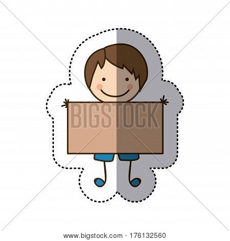 sticker colorful caricature boy with banner vector illustration