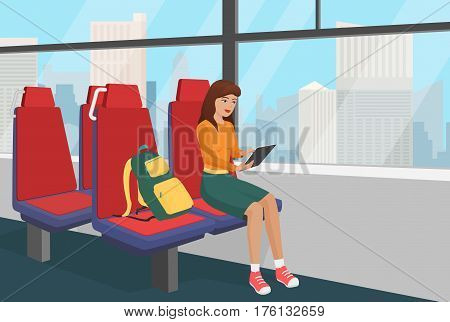 Young woman with backpack browsing tablet in the public vehicle or train vector illustration