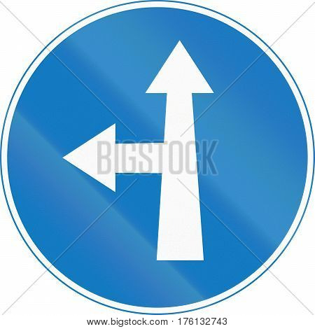 Road Sign Used In Cyprus - Straight Or Left Ahead