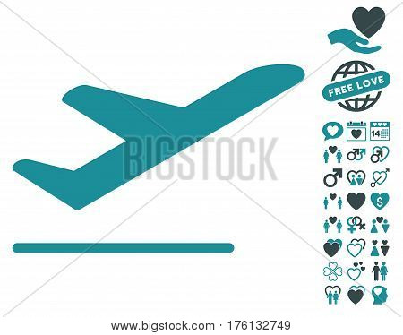Airplane Departure pictograph with bonus lovely pictograph collection. Vector illustration style is flat iconic soft blue symbols on white background.