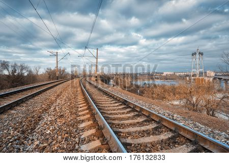 Railroad In The City. Railway Station