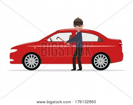 Vector illustration of a cartoon robber steals a car. Isolated white background. Flat design. Thief theft automobile.