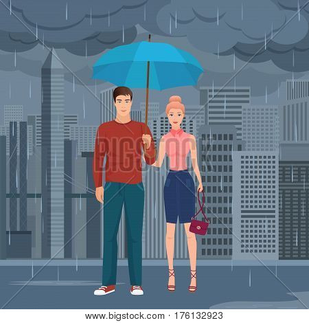 Young Happy couple pair standing under the umbrella in the street in dark grey rainy day vector illustration