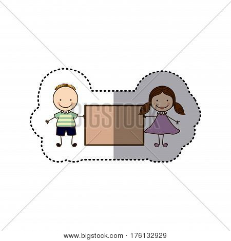 sticker colorful caricature couple boy with hairstyle and girl with hair pigtails with banner vector illustration
