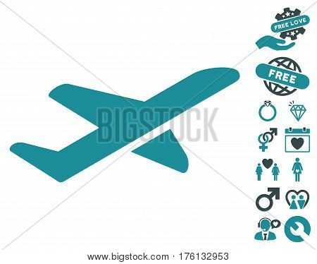 Airplane Takeoff pictograph with bonus valentine graphic icons. Vector illustration style is flat iconic soft blue symbols on white background.