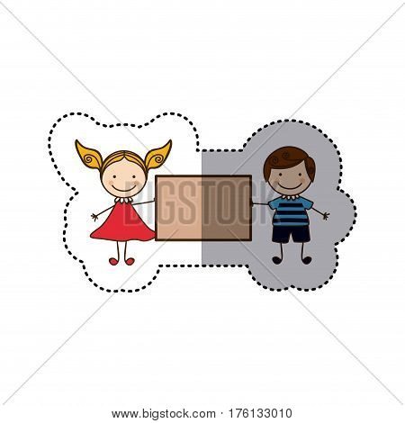 sticker colorful caricature couple boy with curly hair and girl with dress and banner vector illustration