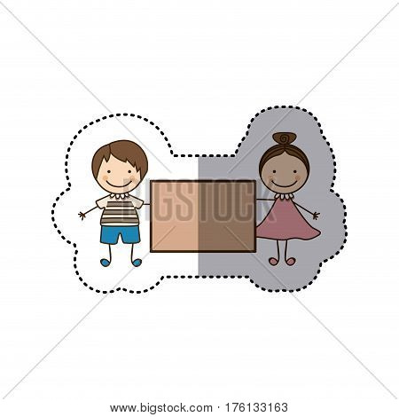 sticker colorful caricature couple boy with straigth hair and girl with collected hair and banner vector illustration
