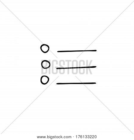 Check list, task list, to do list vector icon with check marks and check boxes hand drawn in a doodle style. Isolated on white background. Outline.