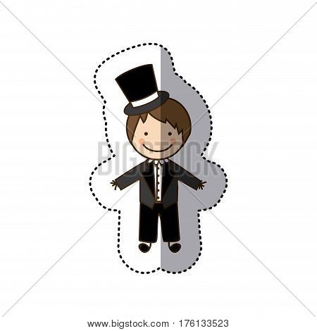 sticker colorful caricature man with costume wedding icon vector illustration