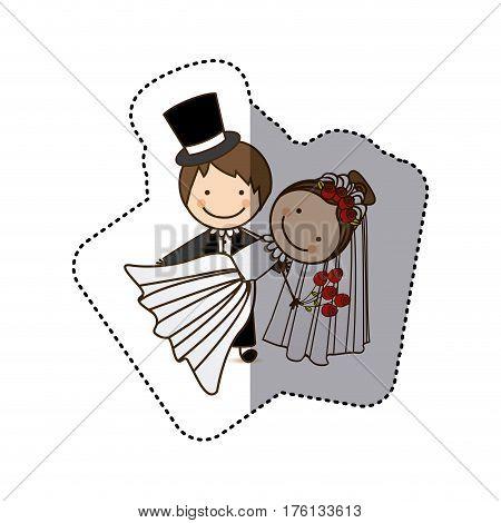sticker colorful caricature couple wedding icon vector illustration