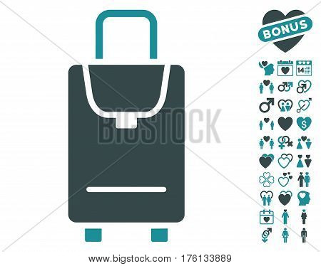 Carryon pictograph with bonus dating clip art. Vector illustration style is flat iconic soft blue symbols on white background.