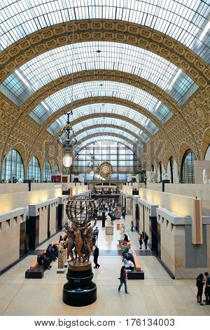 PARIS, FRANCE - MAY 13: D'Orsay interior view on May 13, 2015 in Paris. It host the world's largest collection of impressionist and post-impressionist masterpieces.