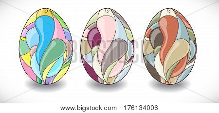 Set with colorful easter eggs. Illustration 10 version