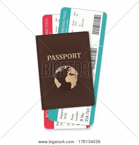 The vector illustration of the passport and the boarding passes in it isolated on white