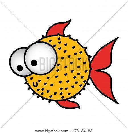 colorful silhouette blowfish aquatic animal vector illustration