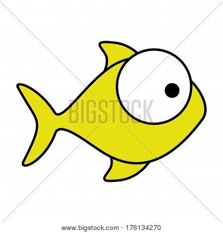 colorful silhouette fish aquatic animal vector illustration