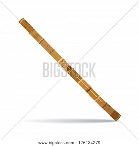Vector traditional australian didgeridoo. Wind musical instrument in flat style.