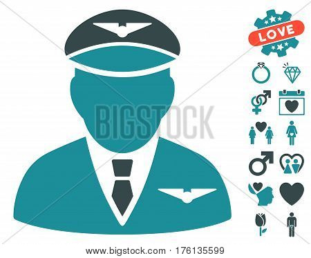 Pilot pictograph with bonus dating pictures. Vector illustration style is flat iconic soft blue symbols on white background.