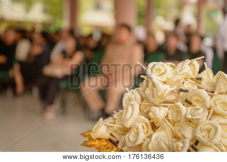 Sandalwood flowers or artificial flowers or wood cremation flower kind of wood flower to be placed on the site of cremation or used during a funeral
