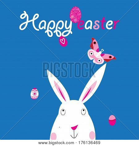 Easter bright colored card with rabbit and eggs
