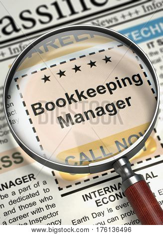 Bookkeeping Manager. Newspaper with the Searching Job. Bookkeeping Manager - Small Advertising in Newspaper. Hiring Concept. Blurred Image. 3D Illustration.