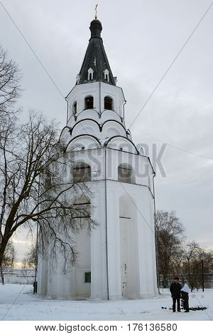 Alexandrov Russia - January 8 2015: View of the Crucifixion church bell tower located in the Alexandrov kremlin the former residence of Tsar Ivan the Terrible in the 16th century.